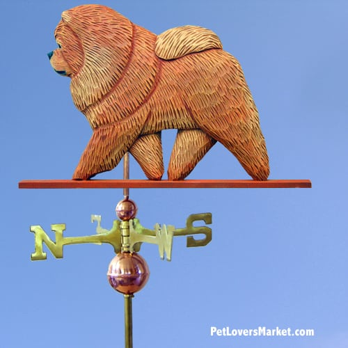 Weathervanes: Chow Chow Dog Weathervane for Roof and Garden Decor. Weathervane made in USA. Gifts for Dog Lovers. (Red)