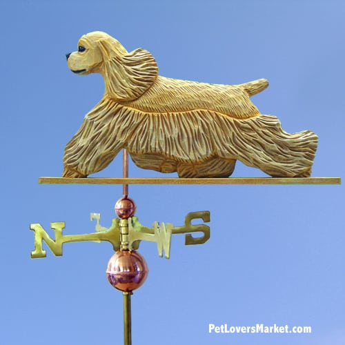 Cocker Spaniel Dog Weathervane for Roof and Garden Decor. Weathervanes made in USA. Gifts for Dog Lovers.