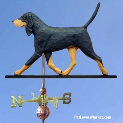 Weathervanes: Coonhound Dog Weathervane for Roof and Garden Decor. Weathervane made in USA. Gifts for Dog Lovers. Black and Tan Coonhound.