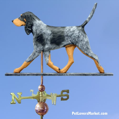 Weathervanes: Bluetick Coonhound Dog Weathervane for Roof and Garden Decor. Weathervane made in USA. Gifts for Dog Lovers.