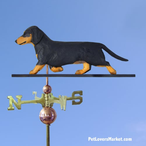 Weathervanes: Dachshund Dog Weathervane for Roof and Garden Decor. Weathervane made in USA. Gifts for Dog Lovers. (Black/Tan)