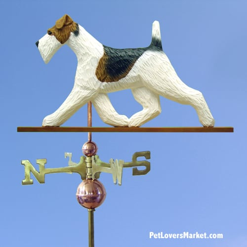 Weathervanes: Fox Terrier Dog Weathervane for Roof and Garden Decor. Weathervane made in USA. Gifts for Dog Lovers. Michael Park Woodcarver