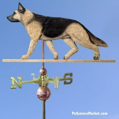Weathervanes: German Shepherd Dog Weathervane for Roof and Garden Decor. Weathervane made in USA. Gifts for Dog Lovers. Michael Park Woodcarver.