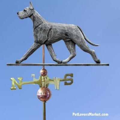 Weathervanes: Great Dane Dog Weathervane for Roof and Garden Decor. Weathervane made in USA. Gifts for Dog Lovers. Michael Park Woodcarver.