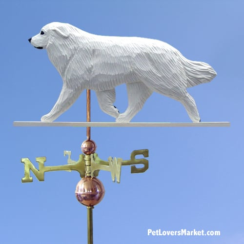 Weathervanes: Great Pyrenees Weathervane for Roof and Garden Decor. Weathervane made in USA. Gifts for Dog Lovers. Michael Park Woodcarver.