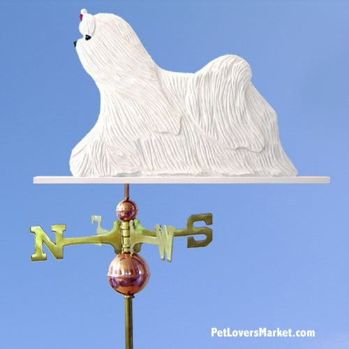 Weathervanes: Maltese Dog Weathervane for Roof and Garden Decor. Weathervane made in USA. Gifts for Dog Lovers. Michael Park Woodcarver.