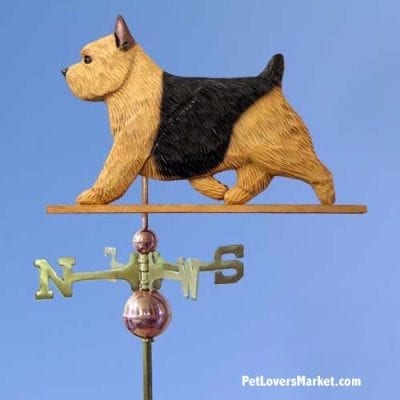 Weathervanes: Norwich Terrier Dog Weathervane for Roof and Garden Decor. Weathervane made in USA. Gifts for Dog Lovers. Michael Park Woodcarver.