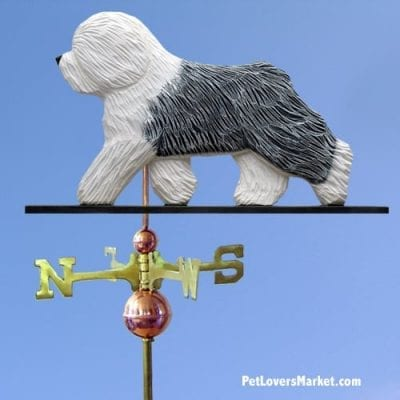 Weathervanes: Sheepdog Dog Weathervane for Roof and Garden Decor. Old English Sheepdog. Weathervane made in USA. Gifts for Dog Lovers. Michael Park Woodcarver.