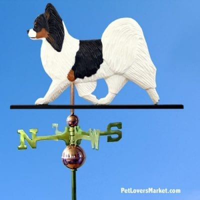 Weathervanes: Papillon Dog Weathervane for Roof and Garden Decor. Weathervane made in USA. Gifts for Dog Lovers. Michael Park Woodcarver.