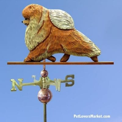 Weathervanes: Pomeranian Dog Weathervane for Roof and Garden Decor. Weathervane made in USA. Gifts for Dog Lovers. Michael Park Woodcarver.