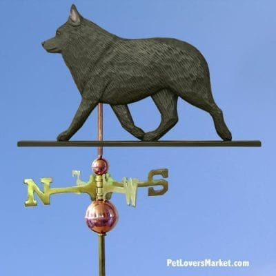 Weathervanes: Schipperke Dog Weathervane for Roof and Garden Decor. Weathervane made in USA. Gifts for Dog Lovers. Michael Park Woodcarver.