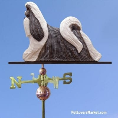 Weathervanes: Shih Tzu Dog Weathervane for Roof and Garden Decor. Weathervane made in USA. Gifts for Dog Lovers. Michael Park Woodcarver.