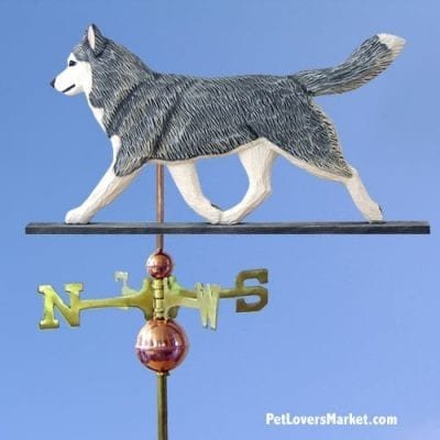 Weathervanes: Siberian Husky Dog Weathervane for Roof and Garden Decor. Weathervane made in USA. Gifts for Dog Lovers. Michael Park Woodcarver.
