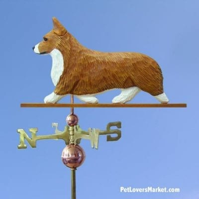 Weathervanes: Welsh Corgi Pembroke Dog Weathervane for Roof and Garden Decor. Weathervane made in USA. Gifts for Dog Lovers. Michael Park Woodcarver.