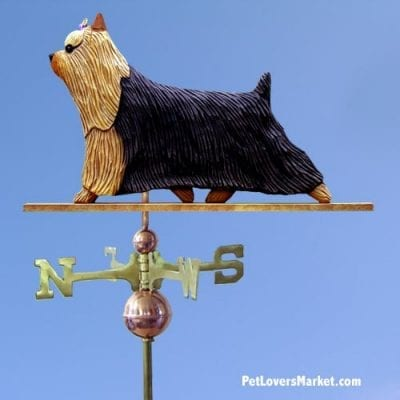 Weathervanes: Yorkshire Terrier Dog Weathervane for Roof and Garden Decor. Weathervane made in USA. Gifts for Dog Lovers. Michael Park Woodcarver.