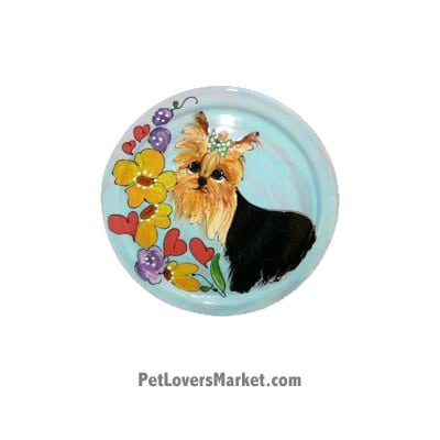Yorkie Dog Bowl (Finkles). Ceramic Dog Bowls; Designer Dog Bowls; Cute Dog Bowls. Dog Bowls are Made in USA. Hand-painted. Lead Free. Microwave Safe. Dishwasher Safe. Food Safe. Pet Safe. Design features Yorkshire Terrier dog breed.