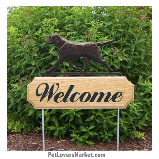 Welcome Sign with Black Labrador Retriever (Black Lab). Welcome sign and dog sign for dog lovers. Welcome sign is perfect for home and garden decor, garden accents, outdoor accents, unique garden statues, garden statues online, best garden decor, garden stake decor, decorative garden stake, outdoor home accents, unique garden decor, outdoor home decor. Features Labrador Retriever dog breed.
