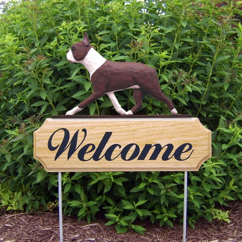 Welcome Sign & Garden Stake: Boston Terrier Dog Breed