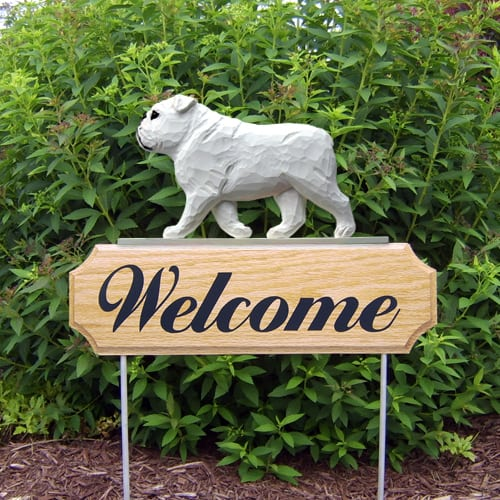 English Bulldog: Welcome Garden Stake
