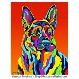 German Shepherd Painting by Michael Vistia.