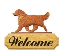 Dog Signs: Golden Retriever Dog Welcome Sign