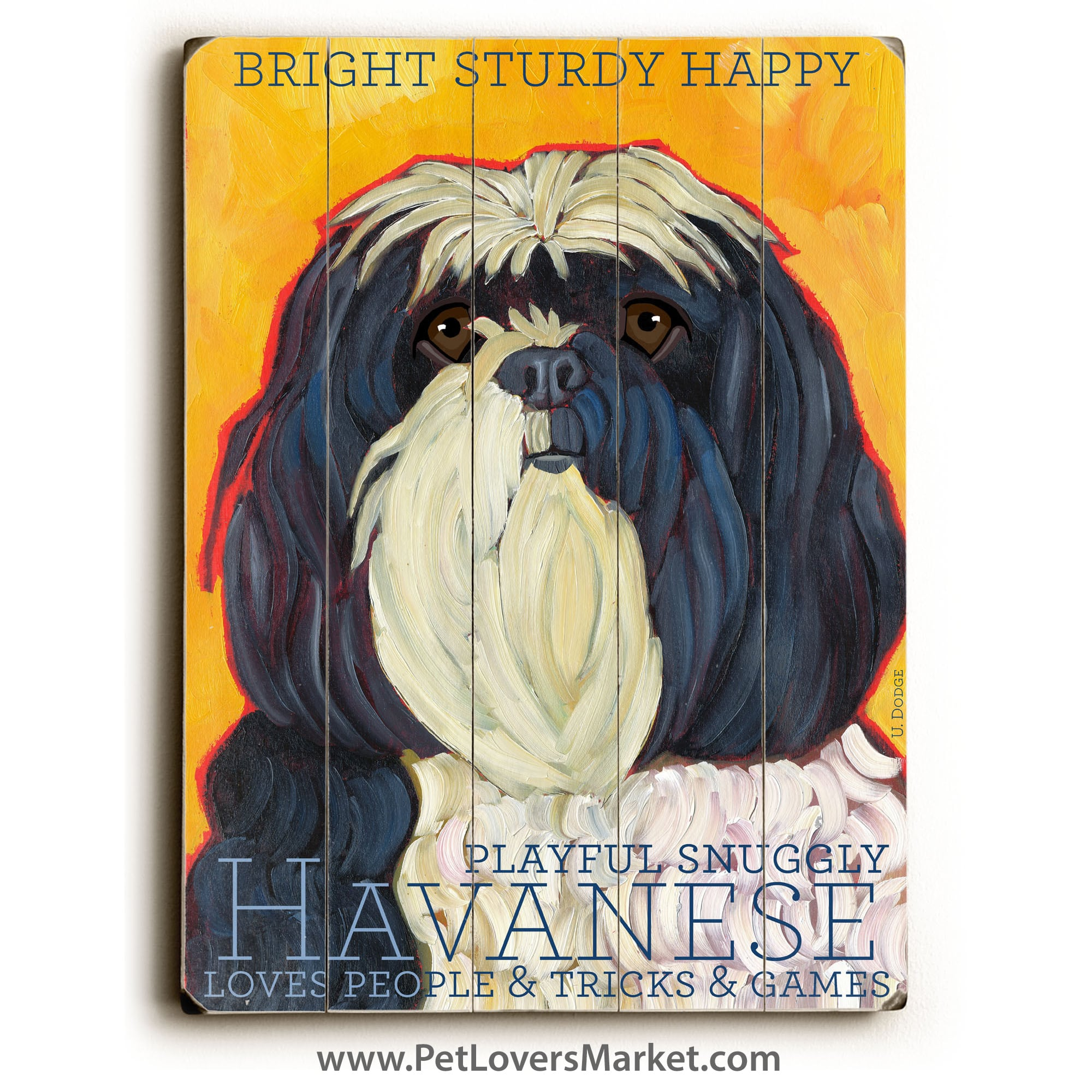 Havanese: Dog Print on Wood