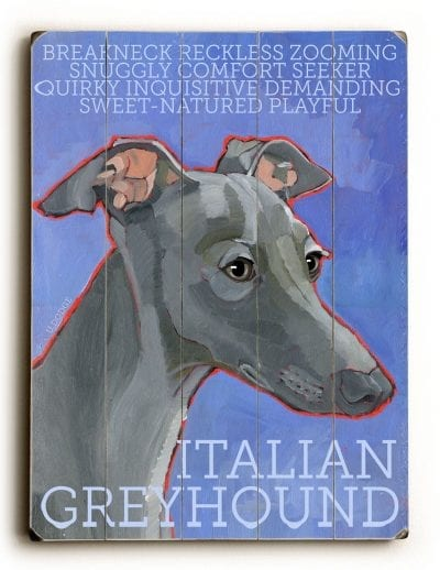 Italian Greyhound - Dog Signs of Dog Breeds. Dog Prints on Wood. Gifts for Dog Lovers.