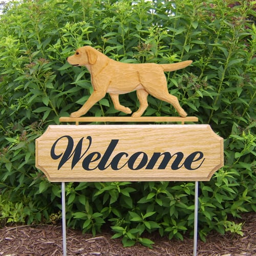 Welcome Sign with Labrador Retriever. Welcome sign and dog sign for dog lovers. Welcome sign is perfect for home and garden decor, garden accents, outdoor accents, unique garden statues, garden statues online, best garden decor, garden stake decor, decorative garden stake, outdoor home accents, unique garden decor, outdoor home decor. Features Labrador Retriever Dog Breed