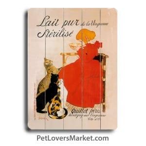 Lait Pur Vintage Advertisement - Vintage Ads with Vintage Cats