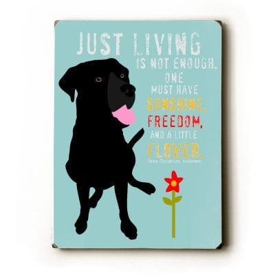 """""""Just living is not enough, one must have sunshine, freedom, and a little flower."""" (Hans Christian Andersen) - Dog signs with inspirational quotes. Dog print on wood sign. Gifts for dog lovers."""
