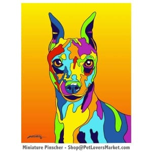 Min Pin Pictures and Art for Sale. Min Pin art and dog painting by Michael Vistia.