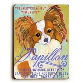 Papillon: Dog Signs of Dog Breeds. Dog Art Print on Wood. Gifts for Dog Lovers.
