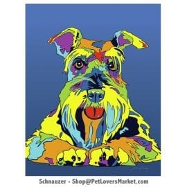 Schnauzer Art. Schnauzer dog painting by Michael Vistia.