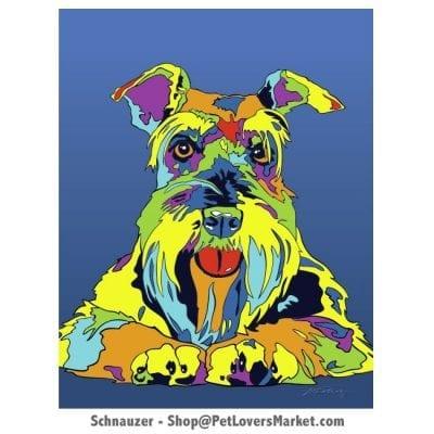 Schnauzer Art. Schnauzer dog painting by Michael Vistia.