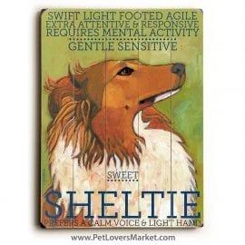 Shetland Sheepdog: Dog Print on Wood