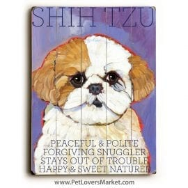 Shih Tzu: Dog Print on Wood