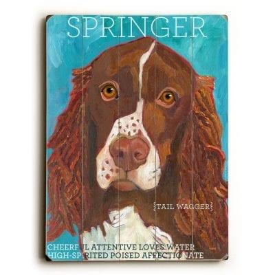 Springer Spaniel: Dog Signs of Dog Breeds. Dog Art Print on Wood. Gifts for Dog Lovers.