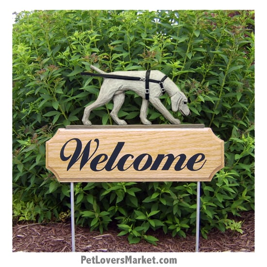 Welcome Sign with Weimaraner dog breed (Tracking) Welcome sign and dog sign for dog lovers. Welcome sign is perfect for home and garden decor, garden accents, outdoor accents, unique garden statues, garden statues online, best garden decor, garden stake decor, decorative garden stake, outdoor home accents, unique garden decor, outdoor home decor. Features Weimaraner dog breed.