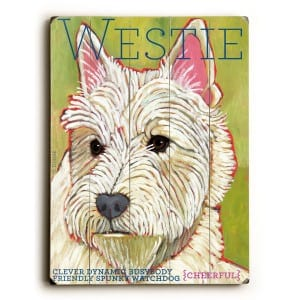 Dog Painting: Westie Pictures. West Highland Terrier. Dog Print. Dog Sign. Wooden Sign.