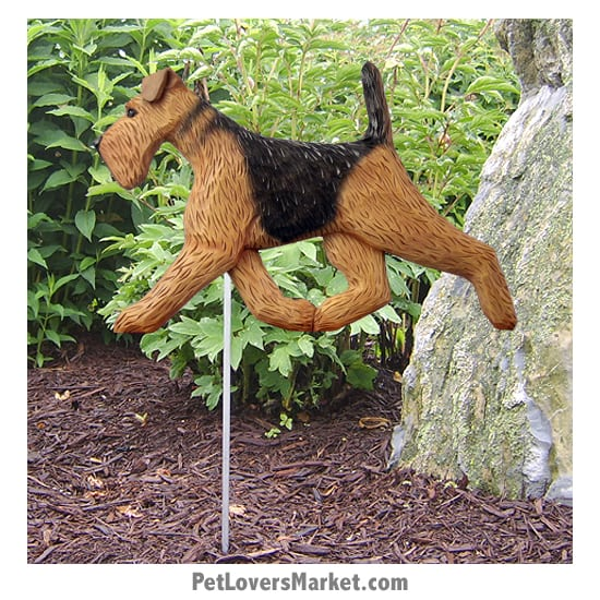 Airedale Dog Sign / Yard Sign / Garden Stake. Garden Accents and Gifts for Dog Lovers. Perfect for Home and Garden Decor. Part of our collection of yard signs and garden accents -- with dog breeds. Also use for outdoor accents, unique garden statues, garden statues online, best garden decor, garden stake decor, decorative garden stake, outdoor home accents, unique garden decor, outdoor home decor. Features Airedale dog breed.