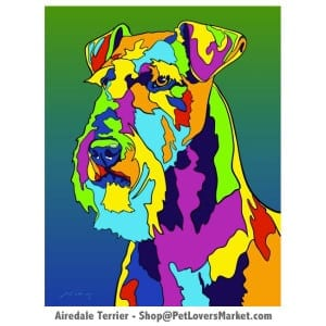 Dog Portraits: Airedale Terrier art. Dog paintings and dog portraits by Michael Vistia. Available in canvas prints and matted prints. Buy Airedale Terrier art as canvas prints and matted prints. Airedale Terrier gifts.