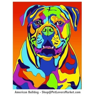 Dog Portraits: Bulldog Art. Dog paintings and dog portraits by Michael Vistia. Bulldog art is available in canvas prints and matted prints. American Bulldog dog breed.