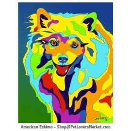 Dog Portraits: American Eskimo Art. Dog paintings and dog portraits by Michael Vistia. American Eskimo art is available in canvas prints and matted prints. American Eskimo dog breed.