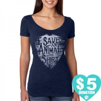 """Animal Rescue T-Shirts - Women's Blue T-Shirt """"I saved an animal with this shirt"""""""