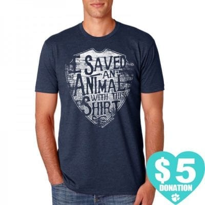 """Animal Rescue T-Shirts - """"I saved an animal with this shirt"""" (Men's Crew Neck T-Shirt)"""