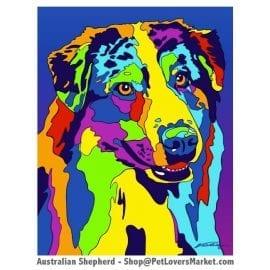 Dog Portraits: Australian Shepherd Art. Dog paintings and dog portraits by Michael Vistia. Australian Shepherd art is available in canvas prints and matted prints. Australian Shepherd dog breed.