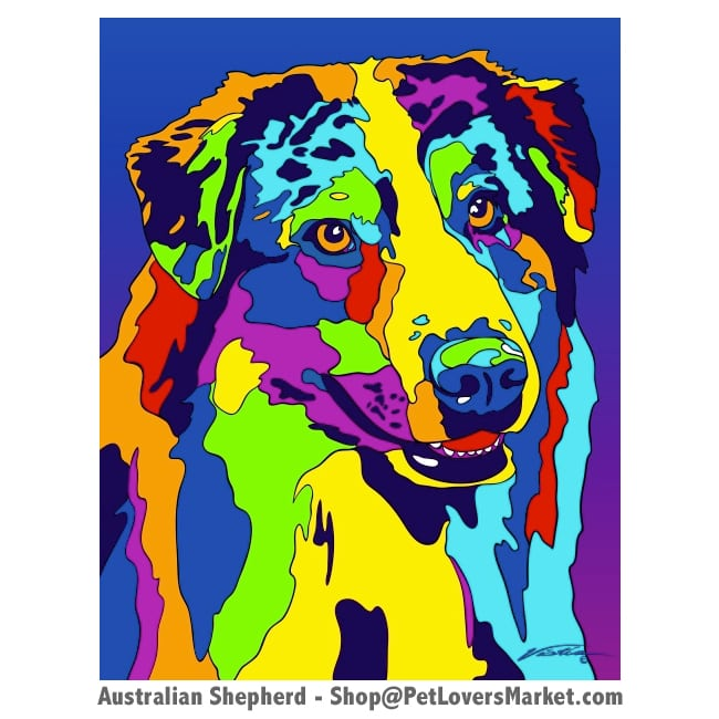 Dog Portraits: Australian Shepherd Art. Dog paintings and dog portraits by Michael Vistia. Australian Shepherd art is available in canvas prints and matted prints. Australian Shepherd dog breed.