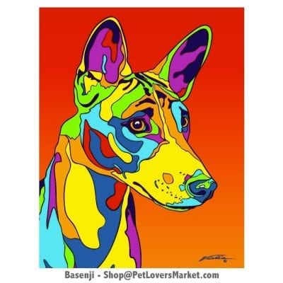 Dog Portraits: Basenji Art. Dog paintings and dog portraits by Michael Vistia. Basenji art is available in canvas prints and matted prints. Basenji dog breed.