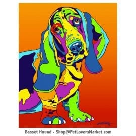 Dog Portraits: Basset Hound art. Dog paintings and dog portraits by Michael Vistia. Basset Hound art is available in canvas prints and matted prints. Basset Hound dog breed.