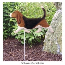 Basset Hound Yard Sign / Garden Stake. Garden Accents and Gifts for Dog Lovers. Perfect for Home and Garden Decor. Part of our collection of yard signs and garden accents -- with dog breeds. Also use for outdoor accents, unique garden statues, garden statues online, best garden decor, garden stake decor, decorative garden stake, outdoor home accents, unique garden decor, outdoor home decor. Features Basset Hound dog breed.